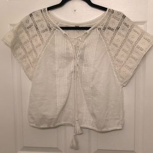NWT Free People Cropped Lace Front Top